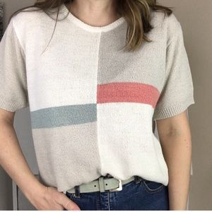 Vintage Colour Block Cream Teal Grey Knit Sweater